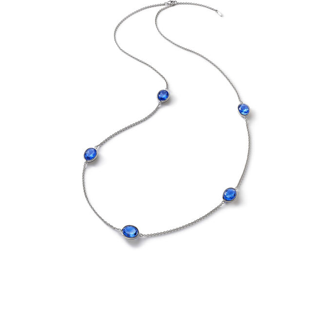 Croisé Long necklace blue silver, Blue