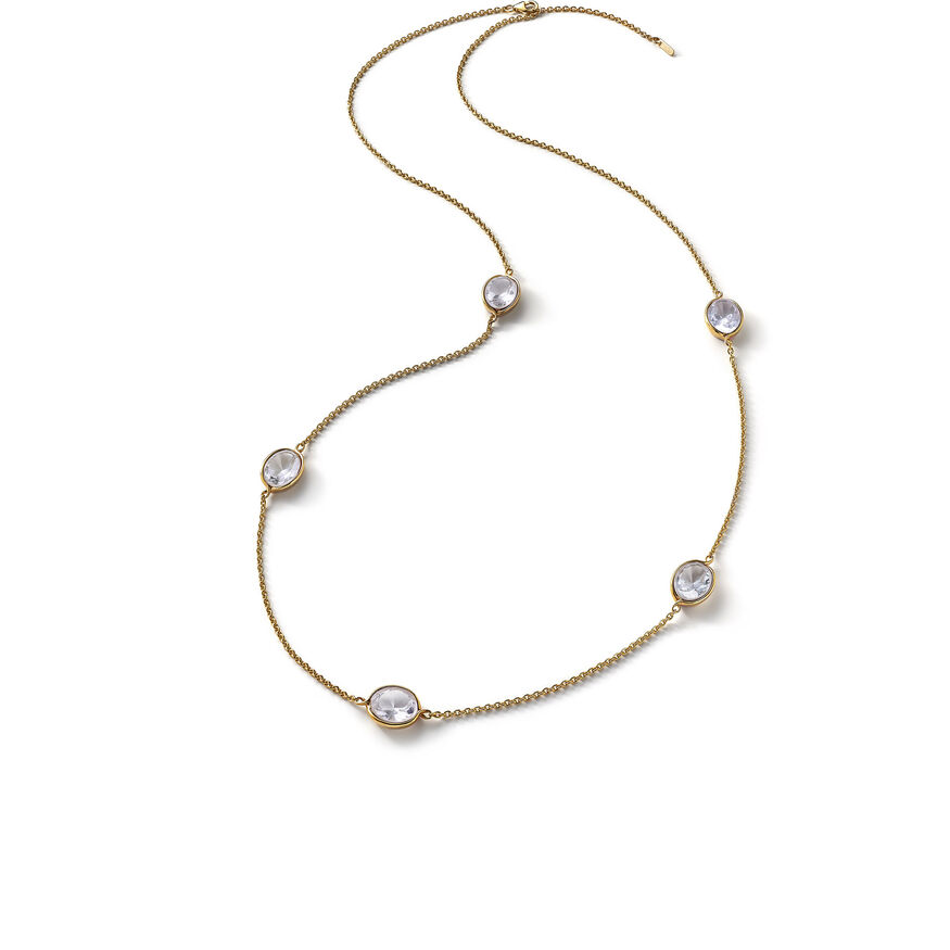 Croisé Long Necklace, Clear