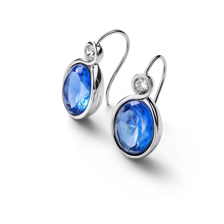 Croisé Earrings blue silver, Blue