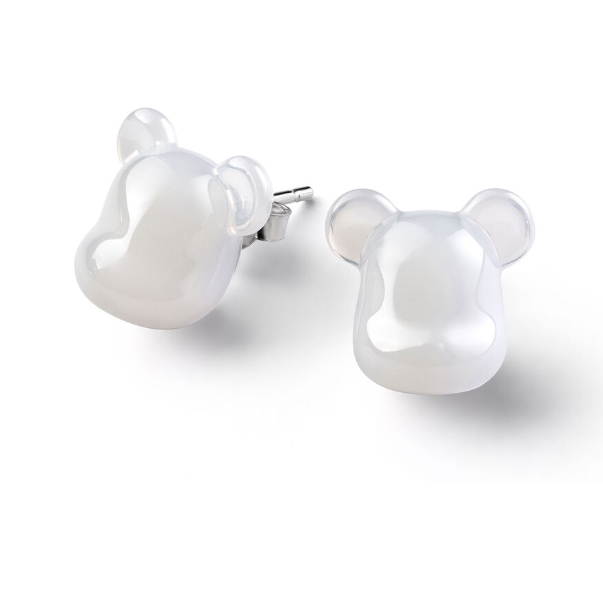 BACCARAT BE@RBRICK EARRINGS, White - 1