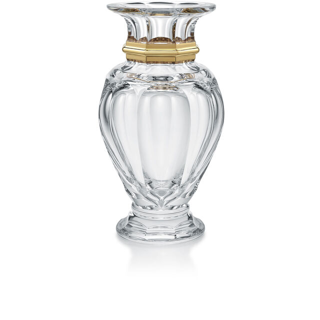 HARCOURT BALUSTRE VASE, Clear & gold