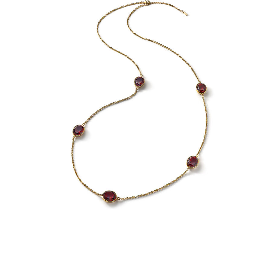 Croisé Long necklace red vermeil, Red - 1